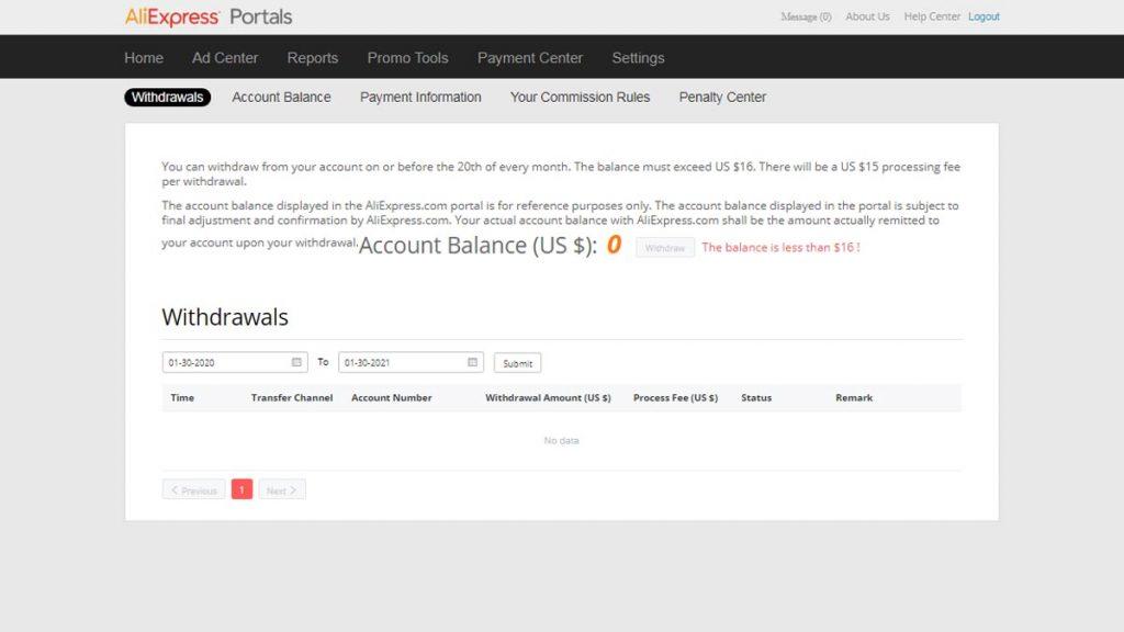 Payment Center Обзор личного кабинета AliExpress Portals
