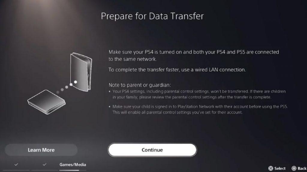 Перенесите данные с PS4 на PS5
