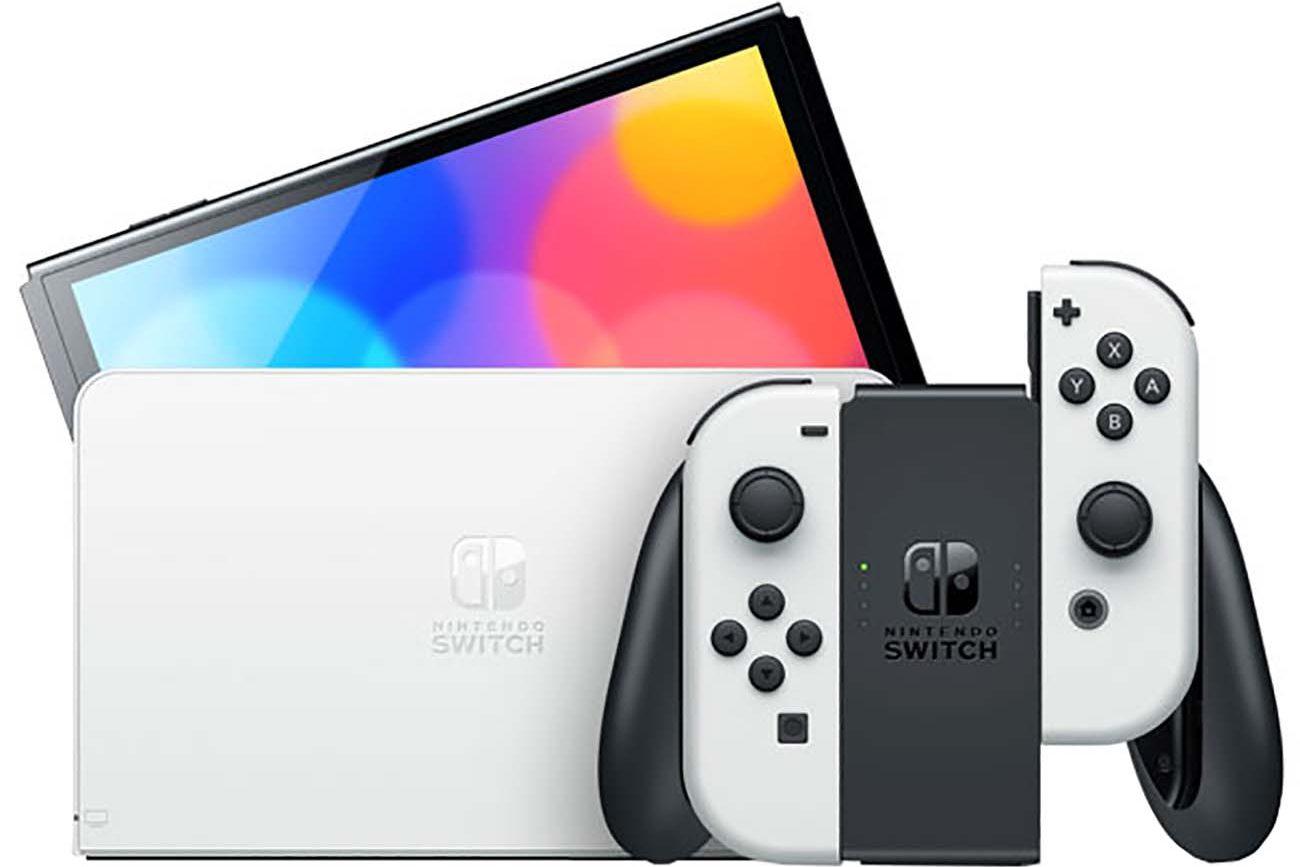Изображение Игровая приставка Nintendo OLED спереди с док-станцией