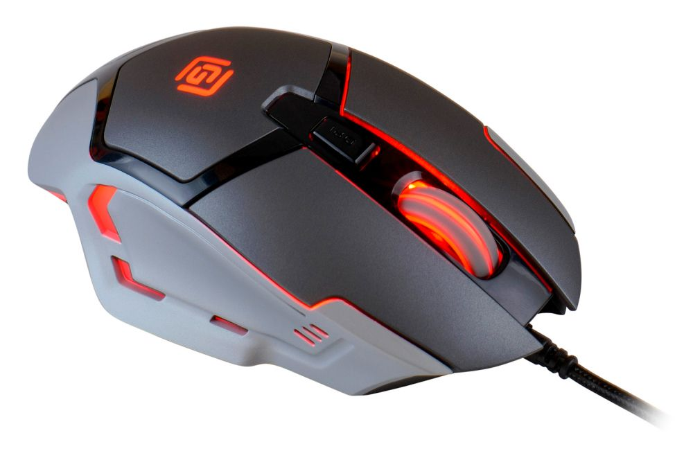 Изображение мыши Oklick 915G V2 Hellwish полу боком спереди красная подсветка